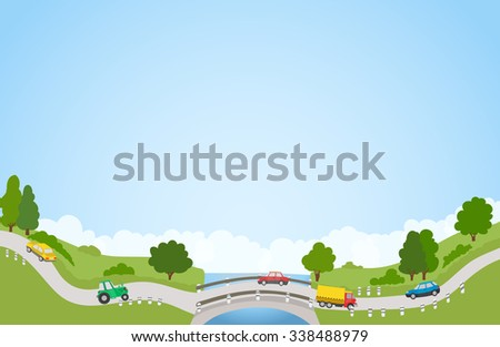 landscape with road and cars, river and bridge, trees and clouds. raster version - stock photo