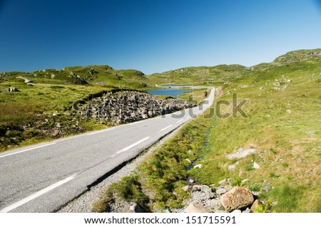 Landscape with road and lake in Norway