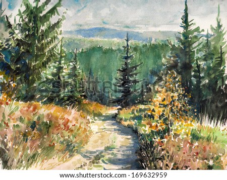 Landscape with road in mountains.Picture created with watercolors. - stock photo