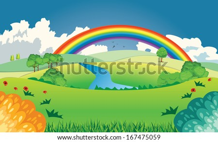 landscape with road trees and rainbow