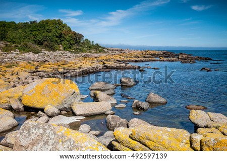Landscape with  rock coast and water. Bornholm, Denmark
