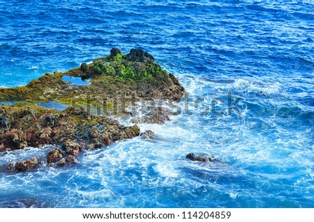 Landscape with rocks and sea. Tenerife, Canarian Islands, Spain - stock photo