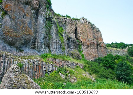 Landscape  with rocks,  mountains  in Armenia.