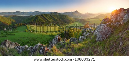 Landscape with rocky mountains at sunset in Slovakia - Eastern Europe - stock photo