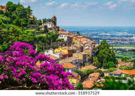 landscape with roofs of houses in small tuscan town in province, Italy - stock photo