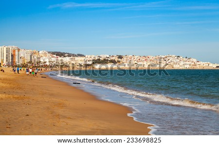 Landscape with sandy beach of Tangier, Morocco, Africa - stock photo