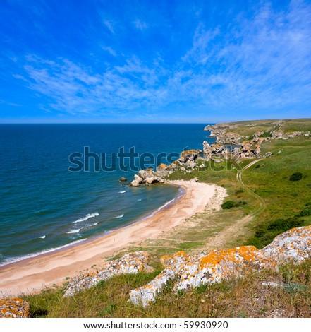 landscape with sea coastline - stock photo