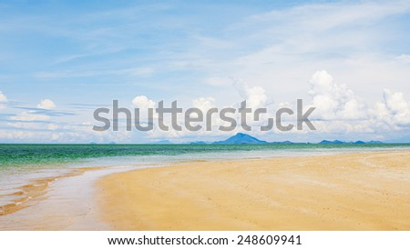 landscape with sea, sky and beach, at sunny day - stock photo