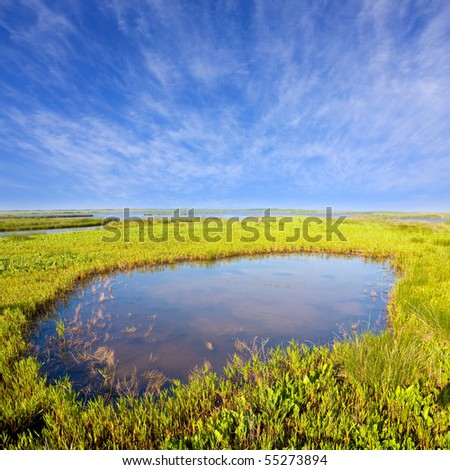 Landscape with small lake in steppe - stock photo