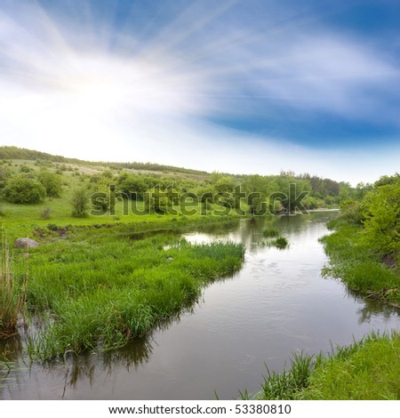 landscape with small river on steppe - stock photo