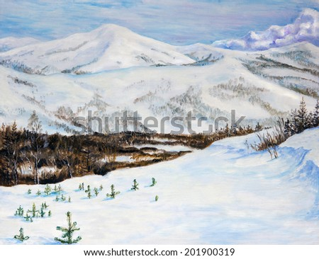 Landscape with snow-covered mountains. Oil painting - stock photo