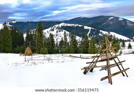 Landscape with spruce, mountains and glade with hayrick installation in the  Carpathian mountains. Ukraine  - stock photo