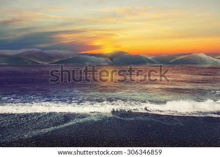 Landscape with sunset and ocean