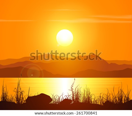 Landscape with sunset at the seashore. Grass silhouette over bright water and mountain range. Raster version of the illustration. - stock photo