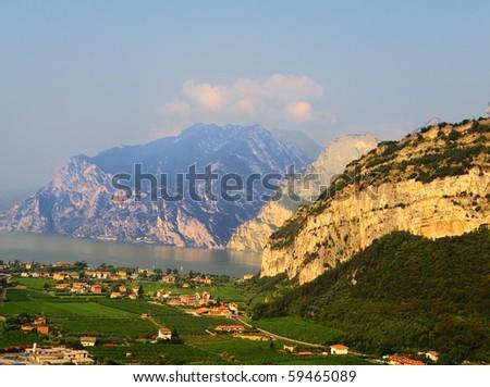 Landscape With The Lake Lago Di Garda, Italy - stock photo