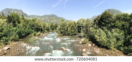 Landscape with the river Eisack in Bolzano in Italy