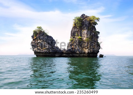 Landscape with the small island. Langkawi, Malaysia. - stock photo