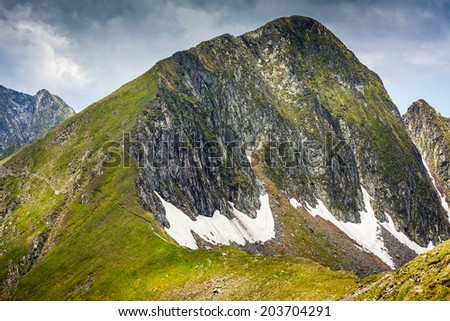 Landscape with the spectacular Fagaras mountains in Romania