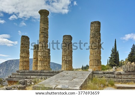 Landscape with The Temple of Apollo in Ancient Greek archaeological site of Delphi,Central Greece - stock photo