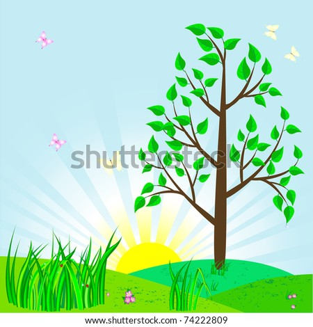 Landscape with tree and sun. Similar image in vector format  in my portfolio.