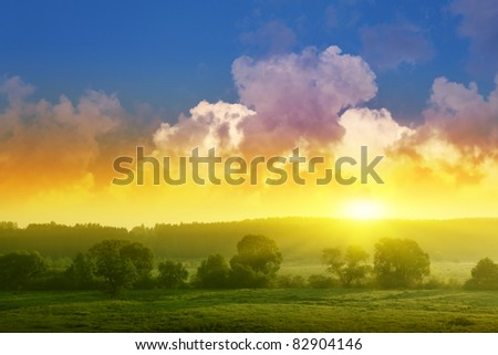 Landscape with trees and dramatic sunset. - stock photo