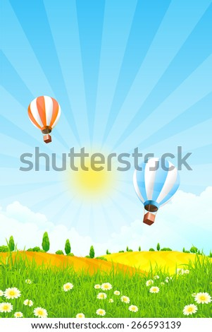 Landscape with Trees and  Hot Air Balloon in the Sky - stock photo