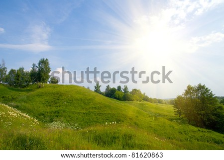 landscape with trees grass and blue sky - stock photo