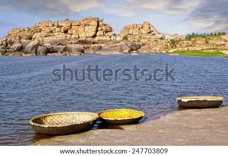 Landscape with unique mountain formation. Hampi, India - stock photo