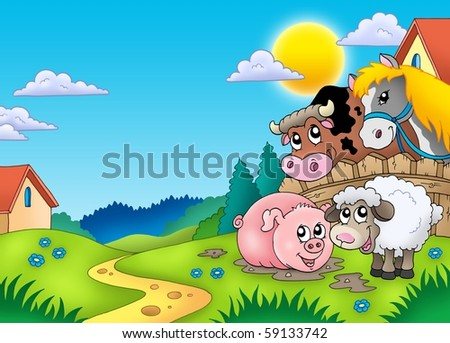Landscape with various farm animals - color illustration. - stock photo