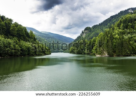 Landscape with Vidraru lake, Romania ,in a summer day  - stock photo