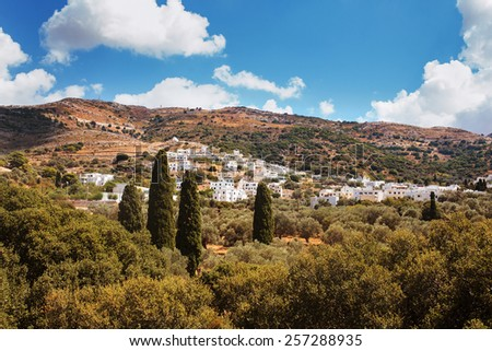 Landscape with Village of Filoti in Naxos Island, Greece. - stock photo