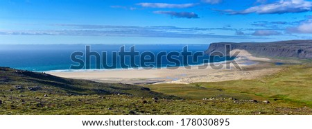 Landscape with white beach at Iceland ocean coast. Panorama. - stock photo