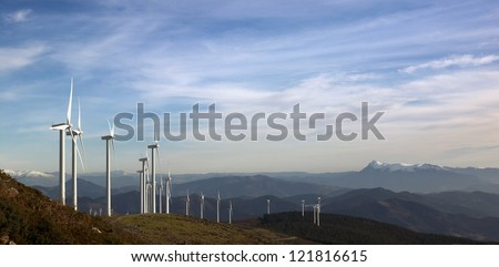 Landscape with wind turbines - stock photo
