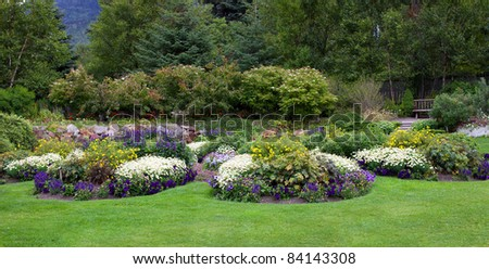Landscaped Flower Beds in a Botanical Garden, Skagway, Alaska - stock photo
