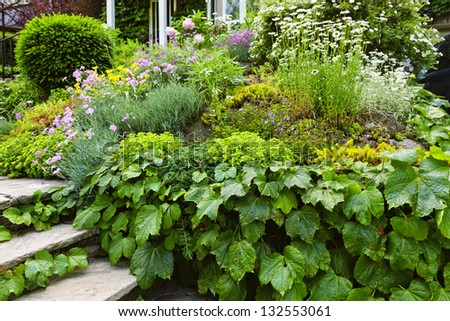 Landscaped garden at house with natural stone steps - stock photo