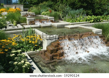 Landscaped Water Feature - stock photo