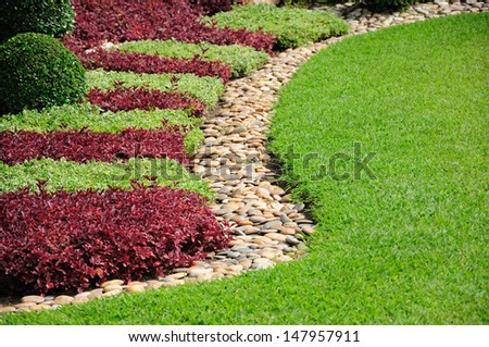 Landscaped Yard and Garden. A beautiful landscaped yard and garden - stock photo