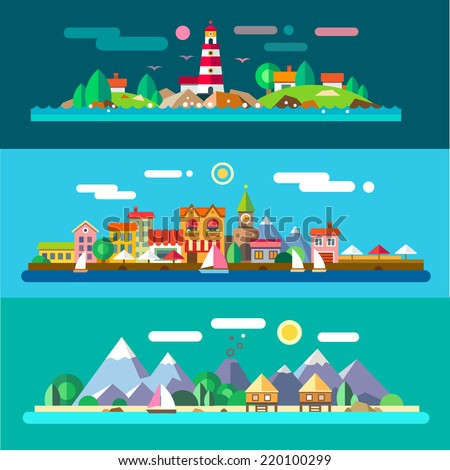 Landscapes by the sea: lighthouse and rocks, urban embankment, beach resort. Flat illustrations - stock photo