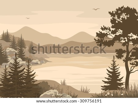 Landscapes, Lake, Mountains with Trees, Flowers and Grass, Birds in the Sky Silhouettes.  - stock photo
