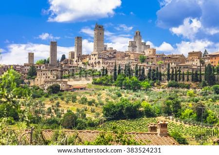 landscapes of Italy. medieval San Gimignano - Tuscany - stock photo