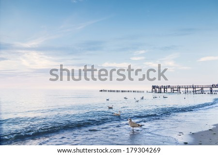 Landscapes of Poland. Calm sunset at Baltic sea.  - stock photo