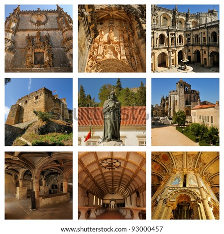 Landscapes of Portugal. Chapel of the Knights Templar and the interior of the castle in Tomar. - stock photo