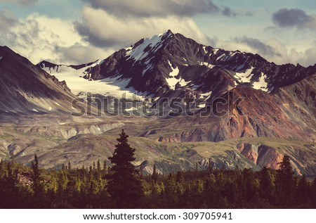 Landscapes on Denali highway.Alaska. Instagram filter. - stock photo