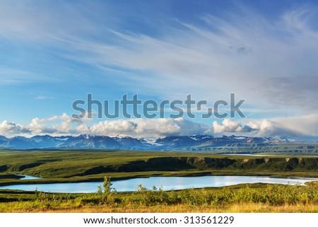 Landscapes on Denali highway.Alaska. Instagram filter. - stock photo