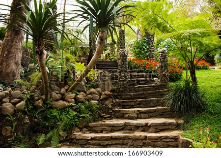 Landscaping in the garden. The path in the garden asian style - stock photo