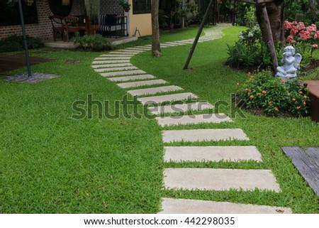Landscaping Green Garden Pathway Parkcurve Walkway Stock Photo