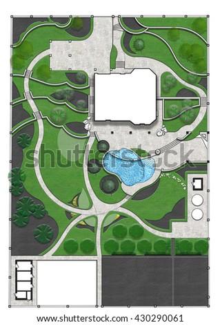 Landscaping master plan, 3d render - stock photo