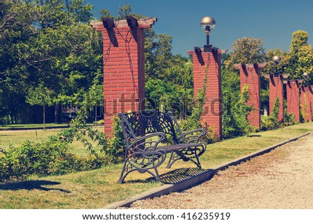 Landscaping of famous Herastrau park in Bucharest Romania - stock photo