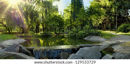 Landscaping park - stock photo