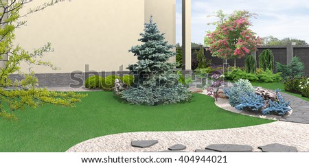 Landscaping planting of greenery, 3d rendering - stock photo